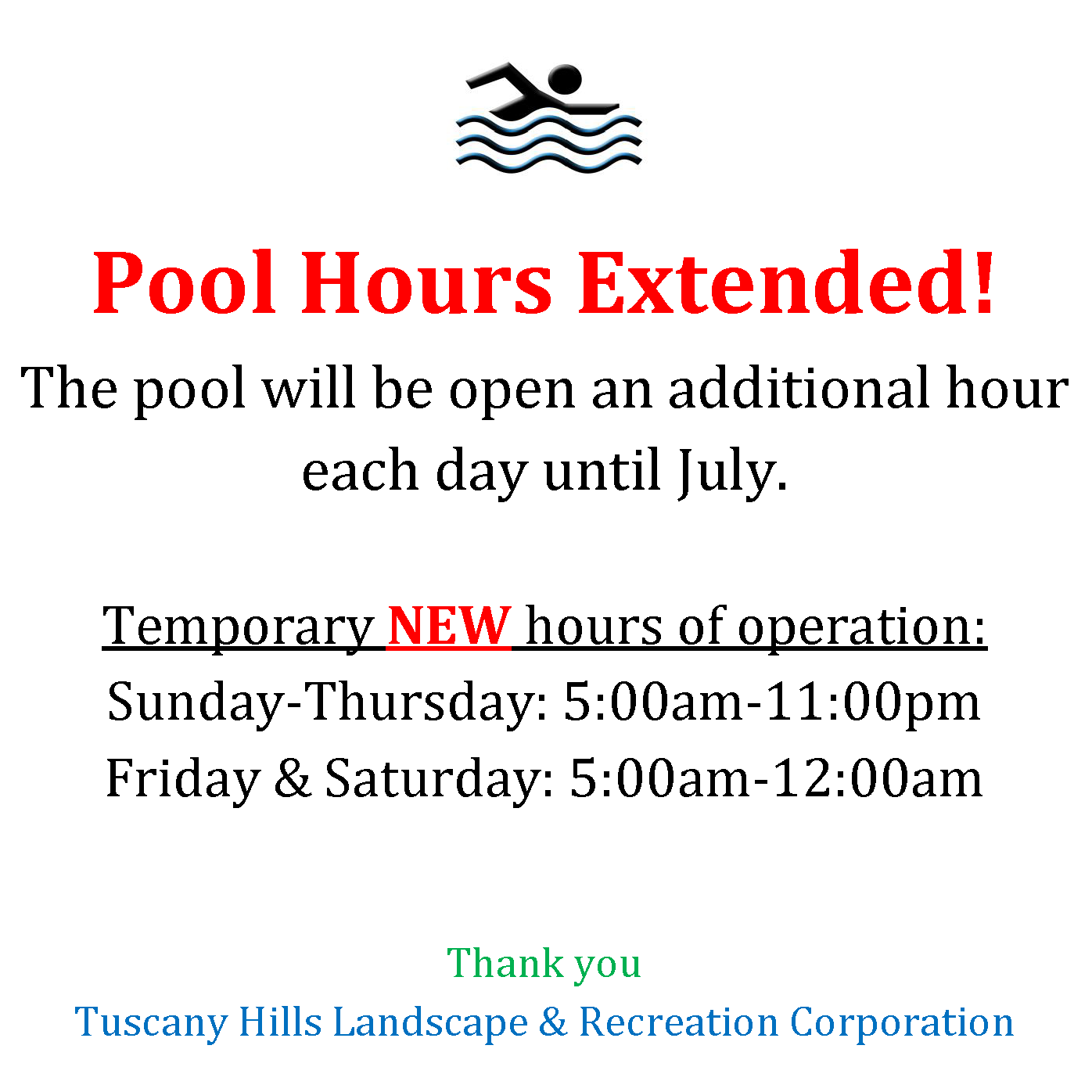 Extended Pool Hours Flyer