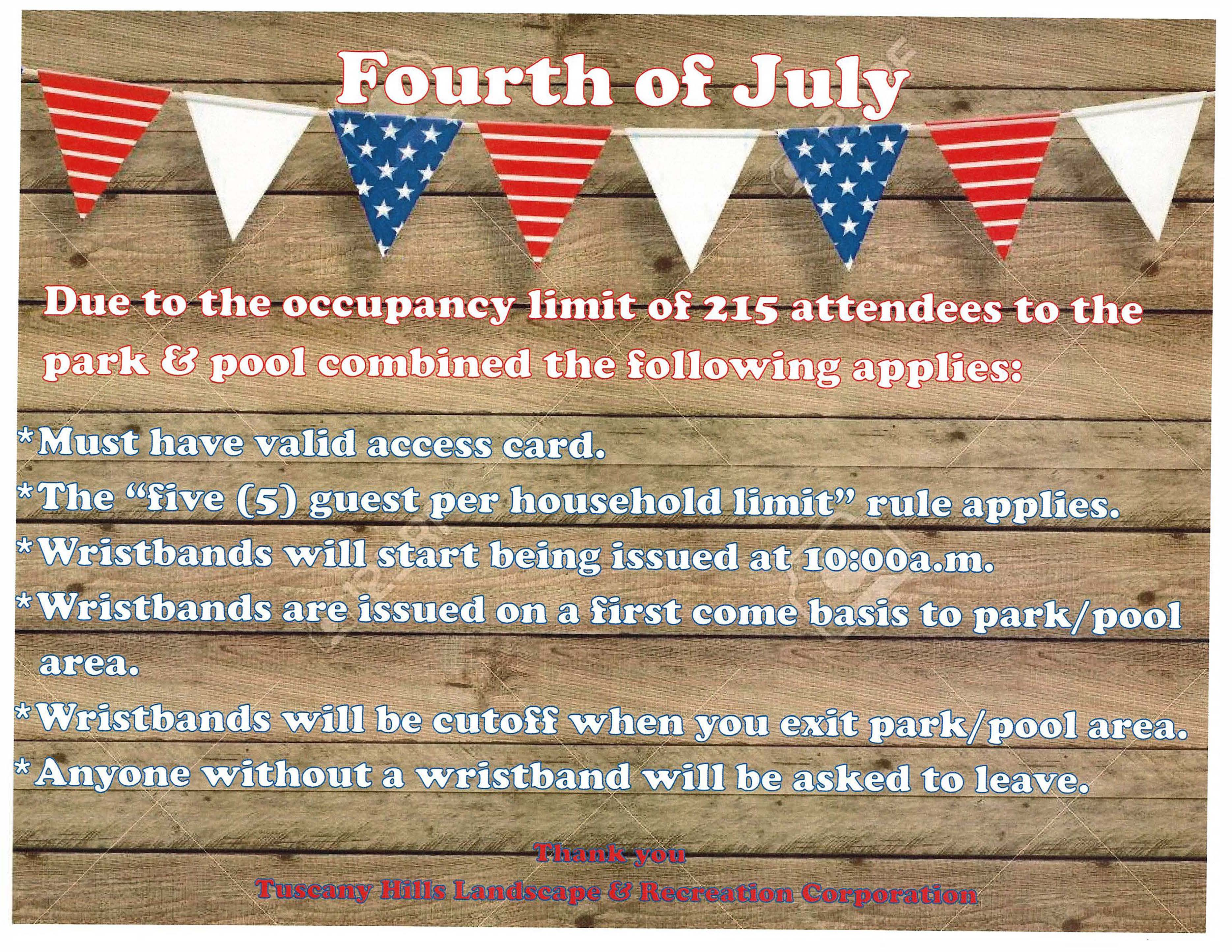 Tuscany Hills Park & Pool Rules for the 4th of July