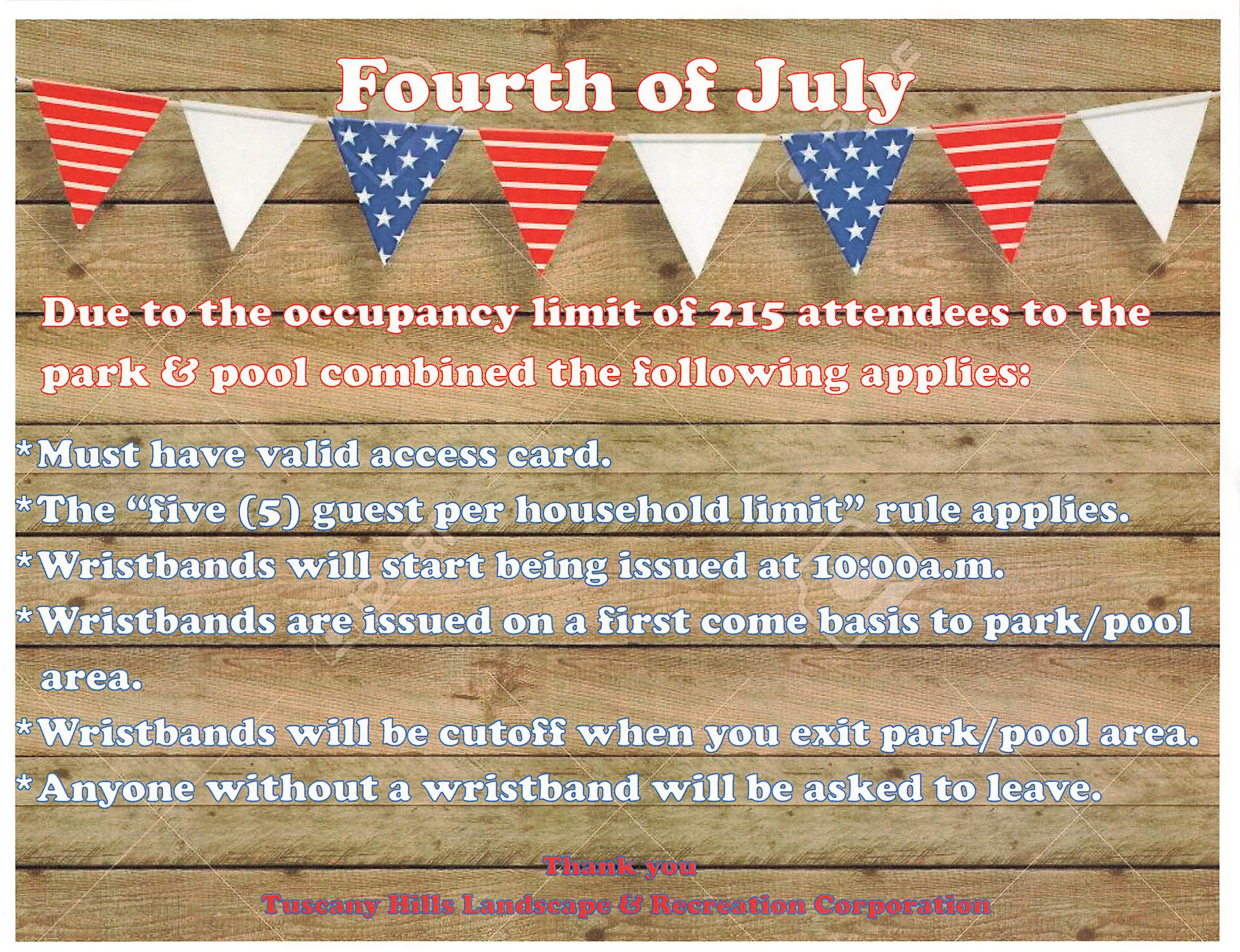 Tuscany Hills 4th of July event flyer for 2021.